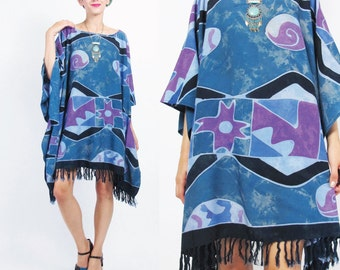 Abstract Print Caftan Dress Beach Cover Up Blue Tie Dye Kaftan Muu Muu Hippie Boho Mini Dress Slouchy Summer Tassel Fringe Hem (L/XL)