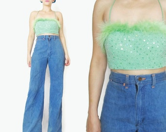 90s Sequin Crop Top Lime Green Beaded Tank Lace Up Back Top Vintage Sparkly Party Evening Top Club Kid Maribou Feather Sequin Bustier (XS/S)