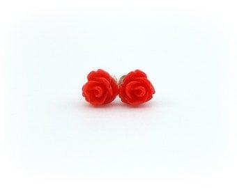Tiny Stud Earring Red Rose Earrings Cute Earring Studs Teeny Tiny Earrings for Sensitive Ears Tween Earrings Girls Earrings Rosette Earrings
