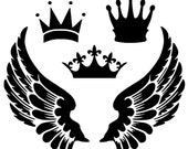Crowns and Wings Stencil