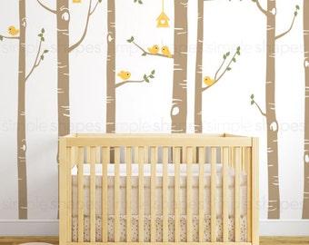 Birch Tree Wall Decal, Birch Tree Birds Wall Sticker Set, Baby Nursery Wall Decals, Nursery Wall Stickers, Girls Nursery, Boys Nursery W1113
