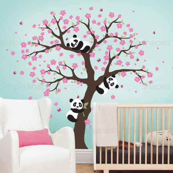Panda and cherry blossom tree wall decal panda wall decal for Stickers para habitaciones juveniles