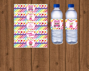Candy Water Bottle Labels, Candy Birthday Party, Candyland Water Bottle Label, Sweet Shoppe Party, Candy Buffet, Instant Download