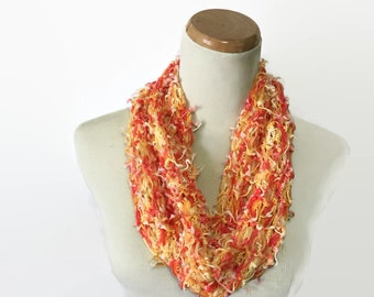 Orange and Yellow Scarf, Fashion Accessory, Knit Cowl, Circle Scarf, Loop Scarf, Women's Scarf