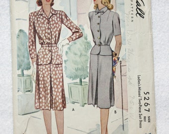 """Sz 16 Bust 34"""" Vintage 40s McCall Sewing Pattern 5267  Two Pc Dress with Peplum Variations and Button Front Bodice"""