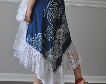 Wrap Skirt- Blue White Cotton Lace Long Ruffled Wrap Skirt, Steampunk, Boho, Gypsy, Belly Dance, Summer Vacation, Beach Vacation cover up