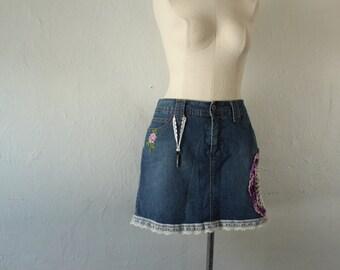 Upcycled Skort - Doily Lace Skeleton Key Embellished Denim Skirt-Shorts