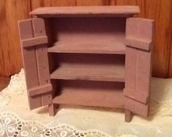Wooden Miniature Cupboard Knicknack Shelf Pink Adorable Vintage Home Decor
