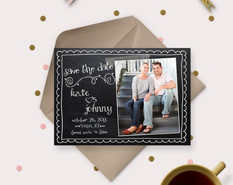 Chalkboard Save the Date Magnets or cards