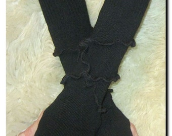 Black Wool & Cotton Knit Arm Warmers -  One of a Kind Fingerless Gloves OOAK Upcycled Repurposed