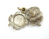Vintage Saint Rita Catholic Medal - Silver Rose Shaped Locket Charm - Bracelet Rosary Supplies - S2