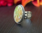 Sterling Silver Feather Plume Agate and Gaspeite Ring - The Feather Bearer Ring Ready to Ship