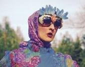 Vintage 1960s Floral Dress... Blue Floral... Sheer Sleeves... Fabulous Spring Fever Print