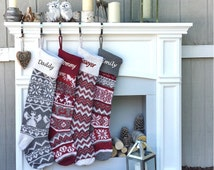"""Personalized Large 28""""  Knitted Christmas Stockings Red Grey White Intarsia Fair Isle Nordic Modern Christmas Stockings for Holidays"""