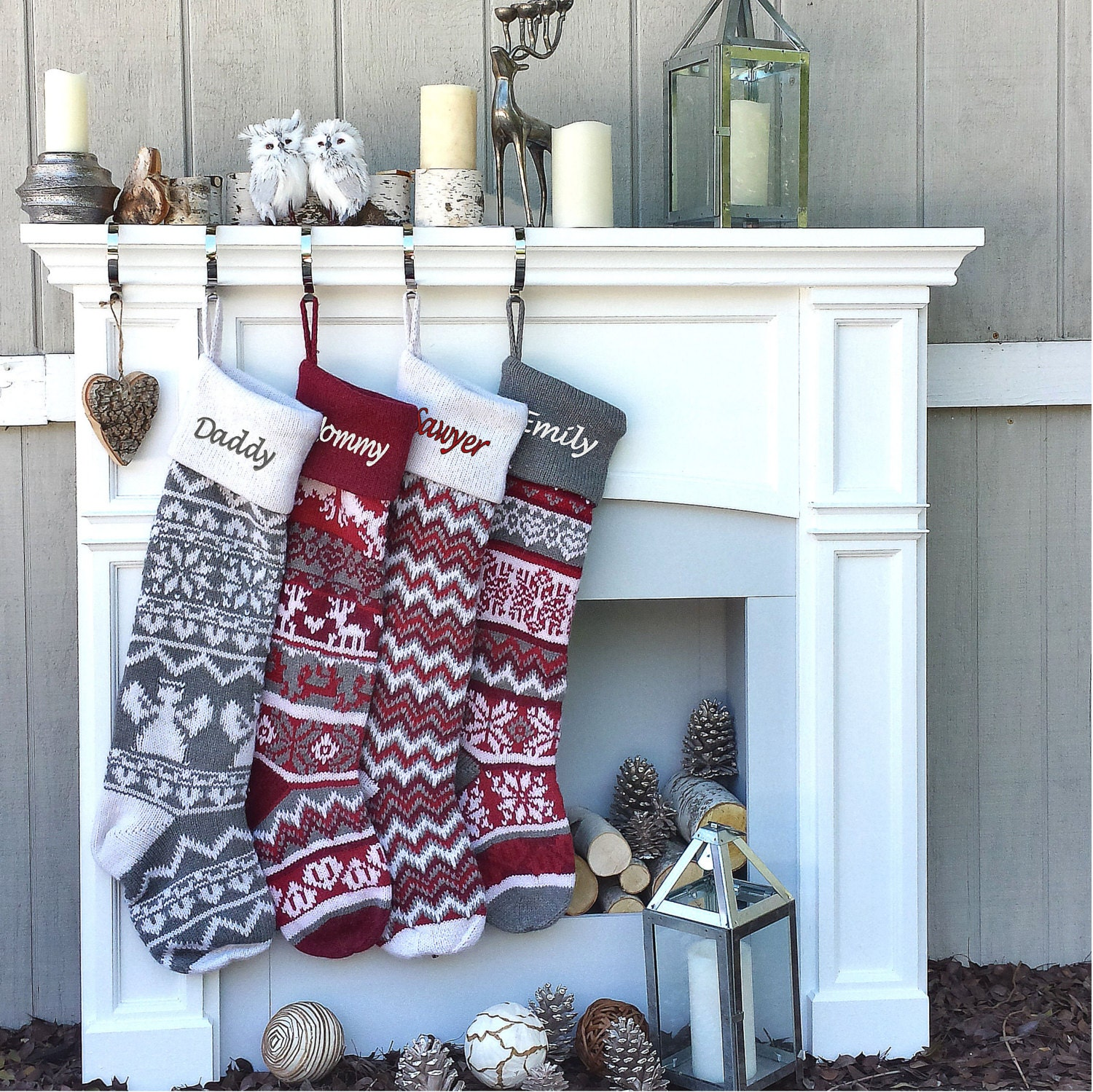 Personalized large 28 knitted christmas stockings red zoom bankloansurffo Choice Image