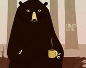 Bear Enjoys Coffee