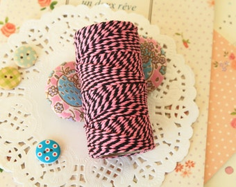Pink & Black Two Tone Colour Cotton Bakers Twine 20m