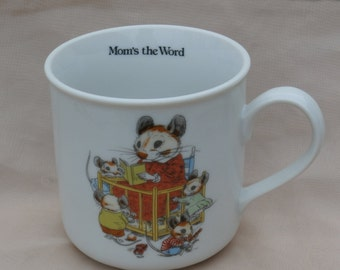 Mom's the Word, Vintage Mouse Mother Cup, Coffee Mug, New Trends Pawprints