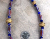 Vintage Watermelon Bead Necklace Red Blue Large Javanese Chevron Focal Ethnic Gold Plated Beads Ethnic Boho African Necklace