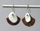 Porcelain earrings copper fan earrings white porcelain artisan