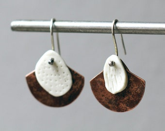 Porcelain earrings copper fan earrings white porcelain artisan