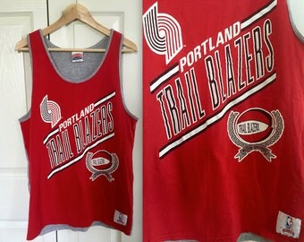 Vintage RARE Official 90s Portland Trail Blazers Tank top tee T shirt - Mens  Medium Large - Official NBA basketball