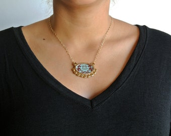 Flower Necklace - Floral Necklace - Colorful Necklace - Gold Necklace - Statement Earrings - Casual Jewelry - Unique Jewelry