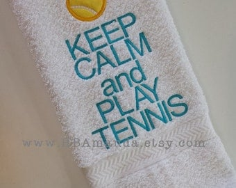"Tennis Towel - ""Keep Calm and Play Tennis"" - Sports Towel - Tennis gift"
