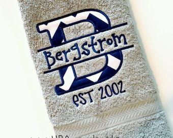 Contemporary Chevron Alpha Split Applique + Last Name Monogram Hand Towel  - Choose thread colors + Choose Chevron fabric