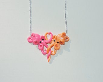 Intertwined Octopi in love Necklace,  pink and orange valentines day gift, anniversary, christmas, birthday,