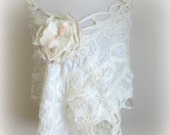 Large White Flower Brooch - Bridal Wrap Pin - Bridesmaids Brooch - Pink Blush