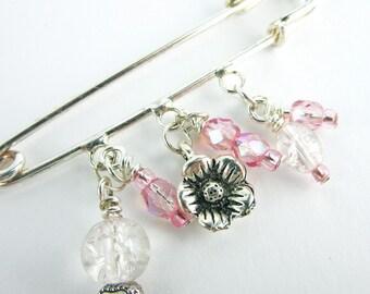 Pink Beaded Scarf Pin - Shawl Pin - Sweater Pin - Pink Rose Brooch - Under 20
