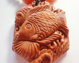Fish Pendant Red Malachite Gemstone Carved Fish Pendant with Red Jasper Bead Necklace and Sterling Silver