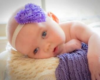 Purple or Pink Heart Valentine's Day Headband...Heart Headband...Shabby Rose Headband...Several Colors