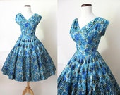 ON HOLD Beautiful 1950's Floral Print Summer Cocktail  Dress with Black Velvet Flocking and Shelf Bust Rockabilly VLV Pinup Girl Size-Medium