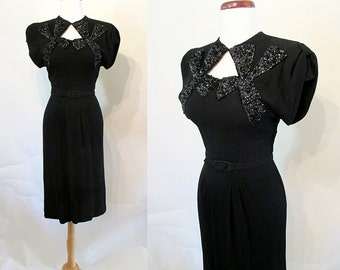 ON HOLD Hollywood  1940's Party Dress with Dramatic Bead Work Film Noir Rockabilly VLV Pinup Girl  Starlet Old Hollywood  Size Small/Medium