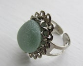 Sea Beach Glass Ring, Seaglass Jewelry, Glass Ring, Adjustable Ring, Gift for Her, Sea Foam Ring, Sea Foam Seaglass
