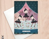 Happy Birthday Ballerinas - Best Friends, Sisters, Group Birthday - Birthday Greeting Card