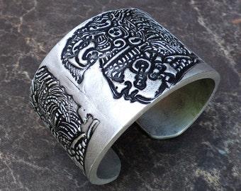 Mayan polymer clay cuff bracelet