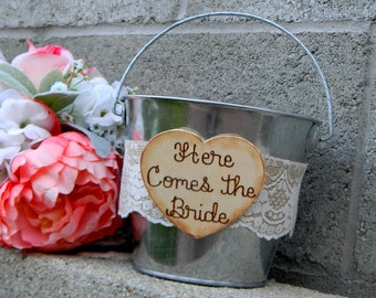Flower Girl Tin Bucket Pail Here Comes The Bride Rustic Woodland Shabby Chic Burlap & Lace Flower Girl Basket Flower Girl Bucket Rustic