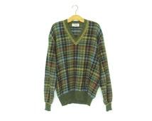 Vintage Missoni Sweater * Oversized Boyfriend Pullover * Men's Plaid V-Neck Sweater