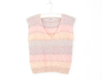 1980s Knit Top * Pastel Mohair Sweater Shell * Vintage 80s Pullover Vest * Small / Medium