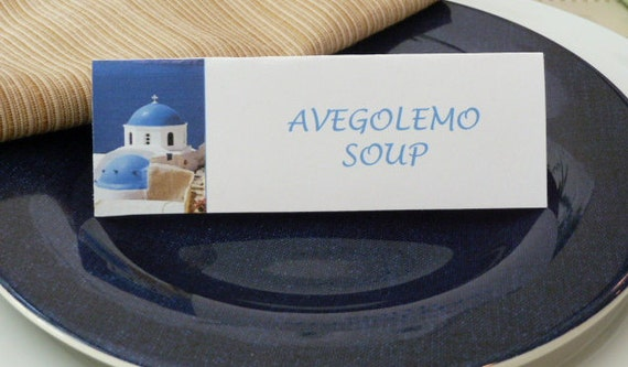 Place Cards/ Name Cards/ Food Tents - Santorini Greece - Set of 6- Table Decoration