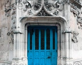 Blue Door Print, Paris Door Photo, Blue Paris Door, Gray, Blue, Architecture, Turquoise Door, Rustic Door, Paris