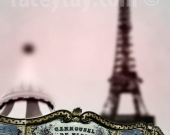 Paris Photography, Carousel & Eiffel Tower, Pink, Girl Nursery Decor, Pastel Decor, Paris Print