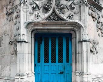 Blue Door, Paris Print, Blue Paris Door, Gray, Blue, Architecture, Turquoise, Rustic Door, Paris Decor