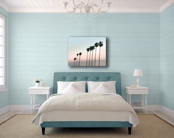 Palm Tree Canvas, Blue, Pink, 16x20 Canvas, Pastel Beach Decor, Large Canvas Wall Art, Tropical Decor