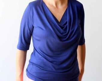 SALE Blue cowl top, Short sleeve top, US 8-10 top, US8 - US10 cowl top, Basic top, Cowl neck shirt, SALE top, Womens tees, Womens clothing