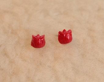 Niobium Stud Earrings - Tiny Tulip Flowers - Hypoallergenic Earrings for Sensitive Ears / Nickel Free Stud Earrings