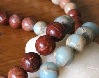 12mm African Opal Round Gemstone Mala Beads - Jewelry Making Supply - 12mm Round Gemstone (16 Inch Strand - 34 Beads)